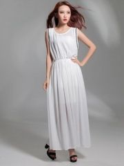 European Women's Trendy Expansion Bottom Chiffon Elastic Waist Sleeveless White Maxi Dress $15 Cheap Maxi Dresses, White Maxi Dresses, 15 Dresses, White Dress, Dresses For Work, Elastic Waist, Chiffon, Shopping, Fashion