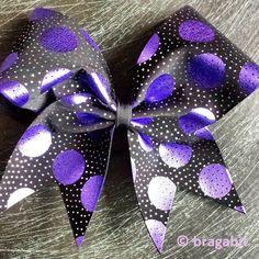 Purple dots on black fabric cheer bow.