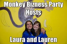 Monkey Bizness Party Hosts Laura and Lauren (courtesy of @Pinstamatic http://pinstamatic.com)
