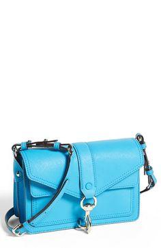 $265, Aquamarine Leather Crossbody Bag: Rebecca Minkoff Hudson Moto Mini Crossbody Bag Neon Blue. Sold by Nordstrom.