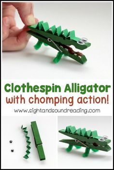 Letter A Crafts: Chomping Clothespin Alligator Craft Chomping Clothespin Alligator Craft If you're studying the letter A, don't miss out on making this super-fun clothespin alligator craft. Make this activity as a part of your Letter A Crafts. Kids Crafts, Summer Crafts, Toddler Crafts, Crafts To Make, Craft Projects, Kids Diy, Holiday Crafts, Animal Crafts Kids, Halloween Crafts