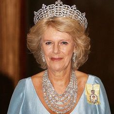 Camilla, Princess of Wales wearing five strands of the royal jewels around her neck with the Boucheron tiara. Compare to photoshopped photo of Camilla wearing the Cambridge Lovers Knot tiara! Royal Crown Jewels, Royal Crowns, Royal Tiaras, Royal Jewelry, Tiaras And Crowns, Thurn Und Taxis, Eugenie Of York, Camilla Duchess Of Cornwall, Elisabeth Ii