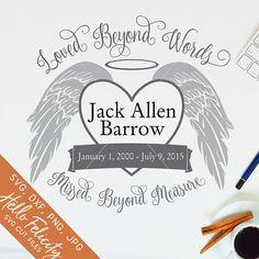 Memorial Svg Loved Beyond Words Svg Angel Wings Svg Png