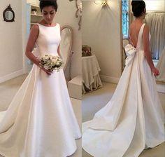 White Long Wedding Dress - Open Back Ribbon Train