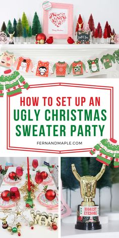 Get all of the inspiration you need for an Ugly Christmas Sweater holiday party - from mantle decor, to place settings, to fun photo booth props and awards for the ugliest sweaters - now at fernandmaple.com!