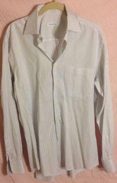 ERMENEGILDO ZEGNA Men's Dress Shirt Cotton Size 15 1/2 MEDIUM White Striped EUC