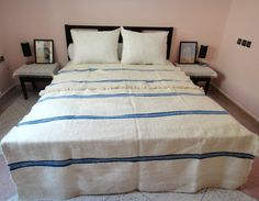 "Moroccan Pom Poms Blue Blanket, Bedspread, Throw rug, kilim, 100% hand spun & pure wool, 114"" x 64"""