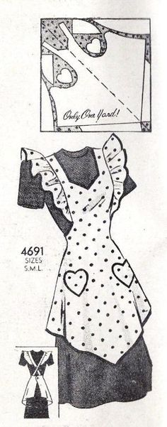 Misses Full Apron with Heart Pockets Vintage Sewing Pattern, Anne Adams 4691 bust 32 to only one yard! Vintage Apron Pattern, Aprons Vintage, Vintage Sewing Patterns, Sewing Hacks, Sewing Tutorials, Sewing Projects, Sewing Aprons, Sewing Clothes, Sewing Dolls