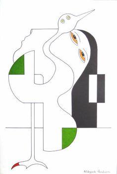 "Saatchi Art Artist Hildegarde Handsaeme; Drawing, ""The Japanese Crane"" #art"