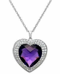 Fine Jewelry Genuine Amethyst and Diamond-Accent Heart and Infinity Pendant Necklace AKFcPzFSmg