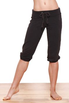 b1df4c836f 19 Old School Crop Sweat Pant Yoga Capris in Black by Green Apple. A comfy,  fun and sporty cropped sweatpants can be worn to the gym or lounging.