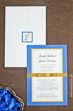 Executive | Written in Ink #wedding #invitation #winkinvitations #blue #gold #ribbon #border #layered Blue Leaves, Blue Gold, Wedding Invitations, Ribbon, Ink, Writing, Tape, Band, Wedding Invitation Cards
