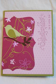 Old DSP, bird punch, top note die, Sale-a-bration stamp set, Stampin Up Birthday Card