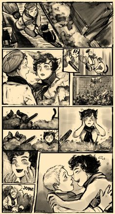 """taikova: """" taikova: """" """"John, it worked!"""" """" Comic page of a kikilock story michi, falka, manna and me have secretly talked about. i wanna draw more pages for this, once i have the time. Sherlock Fandom, Sherlock John, Sherlock Season 5, Bbc Sherlock Holmes, Johnlock, Doctor Stranger, Benedict And Martin, Fandom Crossover, Comic Page"""