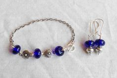 blue bracelet and earrings jewellery set. lampwork by terramor