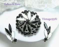 Vintage Delizza & Elster Brooch Earrings Black White by Vintage55, $52.00