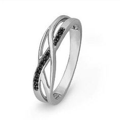 Platinum plated sterling silver round diamond black twisted ring I'd prefer saphires for my youngest daughter's birthstone.