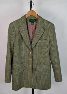 Lauren Ralph Lauren Women's 10 Green Plaid Wool Equestrian Horse Button Blazer #LaurenbyRalphLauren #Blazer