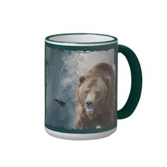 Grizzly Bear & Waterfall Animal-lover Art Mug