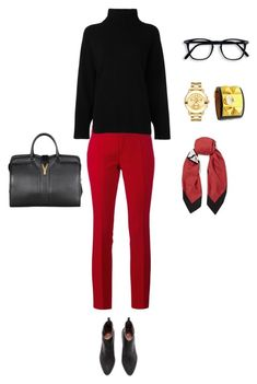 Hello Gucci, Emporio Armani, Yves Saint Laurent, Movado and Hermès . A beautiful slim-fitting red pant. Who wouldn't like that with a a black sweater black purse Red gold jewelry and high heels. a very classical look. Mode Outfits, Fall Outfits, Casual Outfits, Fashion Outfits, Fashion Trends, Work Wardrobe, Capsule Wardrobe, Polyvore Outfits, Emporio Armani