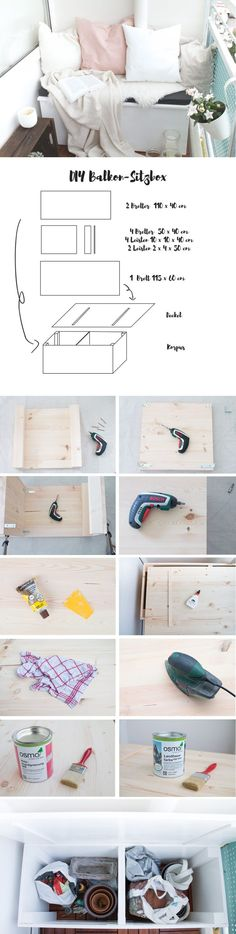DIY Sitzbox & Tipps für einen gemütlichen Balkon Instructions for a DIY seat box for the balcony – the best way to create space and storage space for the balcony DIY IKEA HACk – platformDollar Store Organizing –DIY Blanket Storage Chest Balcony Furniture, Diy Furniture, Furniture Design, Furniture Plans, Rustic Furniture, Garden Furniture, Gothic Furniture, Cardboard Furniture, Diy Cardboard