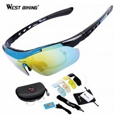 8818bd079a9 WEST BIKING Windproof Anti-Fog Sport Polarized Cycling Glasses for Men and  Women with 5