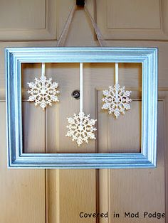 Wreath alternative using painted picture frame