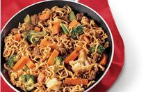 Dinner ready in 25 minutes! Serve your family this beef and Green Giant Select® frozen vegetables mixed with ramen noodles.