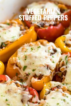 Vegetarian Stuffed Peppers are a healthy, satisfying meal that comes together quickly! This easy weeknight dinner recipe is perfect for Meatless Monday and full of rice, veggies, cheese and Italian-inspired flavors! Baked Stuffed Peppers, Vegetarian Stuffed Peppers, Great Northern Beans, Vegetarian Entrees, Canned Tomato Sauce, Recipe Please, Meat Lovers, Easy Weeknight Dinners, Meatless Monday