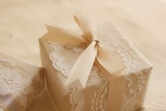 Box wrapped with lace & ribbon