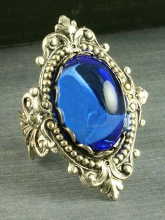 Sapphire Blue Ring Silver Neo Victorian Ring by For The Cross Jewelry