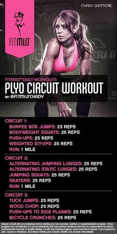 Bad ass plyo cardio workout by Fitmiss Fitness Workouts, Plyo Workouts, Fitness Motivation, Plyometric Workout, Plyometrics, Body Workouts, Killer Leg Workouts, Quick Workouts, Kickboxing Workout