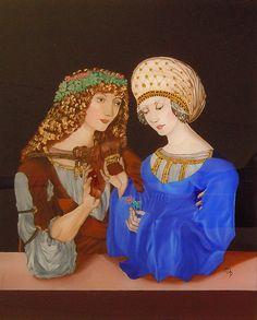 Fini Reverse painting on glass - Peinture sous verre - Hinterglasmalerei