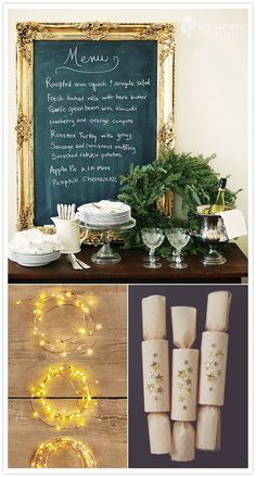 chalkboard, poppers, and twinkle lights!