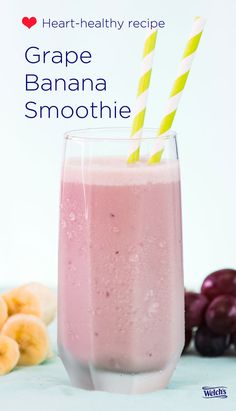Delicious heart healthy recipes like this Grape Banana Smoothie. Welch's 100% Grape Juice helps support a healthy heart.