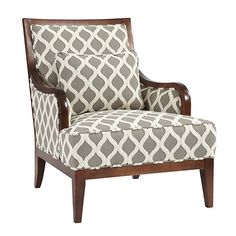 We punched up this classic exposed armchair in an ensemble of our favorite colors and fabrics, so you can take any room up a notch on the 'wow' curve. Living Room Chairs, Living Room Furniture, Home Furniture, Living Rooms, Wood Arm Chair, Living Room Remodel, Take A Seat, Ballard Designs, Upholstered Chairs