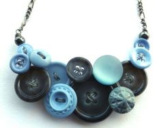 Vintage Button Jewelry Necklace in Gray and Light Periwinkle Blue