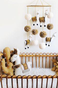 Handmade Llama Mobile & Succulent Pillow | BohoBabyHeaven on Etsy