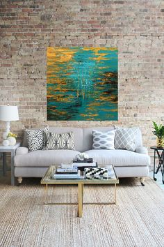 Original Acrylic Abstract Painting on 36 x 36 x 1.75 by VickisArt