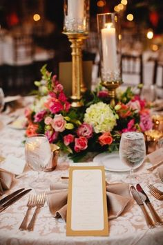 Elegant Gold and Pink Wedding Reception