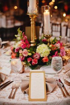 Elegant Gold and Pink Wedding Reception