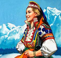 National costume of Yugoslavia. Panel from cover of Look and Learn no. 152 (12 December 1964). Original artwork loaned for scanning by the Illustration Art Gallery.