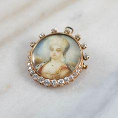14K Yellow Gold Antique Miniature Portrait Brooch/ Pendant