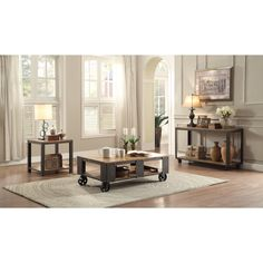 Features:  -Cocktail table and sofa table with wheels for easy mobility.  -Leandra collection.  -Pine veneer.  -Note: Table does not have functioning casters, these are decorative accents only.  Distr