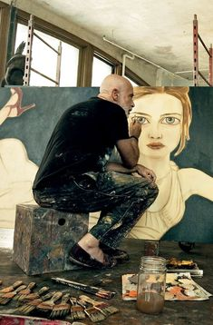 I love the idea of working in whatever way feels comfortable. Francesco Clemente paints model Natalia Vodianova in his downtown New York studio loft space. Photographed by Annie Leibovitz, Vogue, December Artist Life, Artist At Work, New York Studio, Downtown New York, Paul Klee, Portraits, Art Graphique, Creative Studio, Painting Inspiration