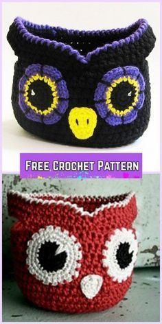 Baby Knitting Patterns Bag Crochet Owl Basket Free Patterns - Crochet Little Owl Storage Free Pattern Crochet Owl Basket, Bag Crochet, Crochet Shell Stitch, Crochet Basket Pattern, Crochet Amigurumi, Crochet Handbags, Crochet Purses, Crochet Gifts, Crochet Toys