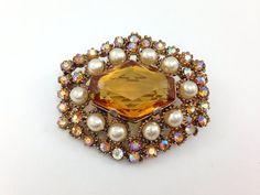 25% OFF SALE,Dazzling old Vintage Amber Cabochon Glass Brooch, Topaz Aurora borealis rhinestone brooch with pearls.
