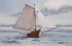 Dory, Sailing by Poppy Balser Watercolor ~ 7 x 10