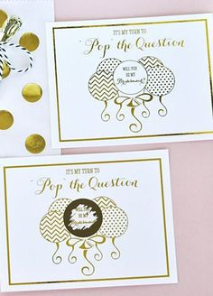 """""""Pop the Question"""" to your Bridal Party with these fun & stylish bridesmaid and maid of honor cards. Cards are printed with """"Now it's my turn to Pop the Question"""" with a balloon design underneath. Cards come with a set of 8 round scratch-off labels that you can apply before handing out to your bridal party. The girls will have fun """"scratching"""" off the balloon to reveal your message underneath - a unique way to ask your bridesmaids & maid of honor! Features and Facts:  Printed"""