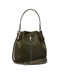 Cynnie Calf Hair Bucket Bag, Deep Olive by Elizabeth and James at Neiman Marcus.
